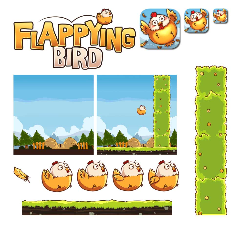 Flappying Bird Game Assets and Game Icons
