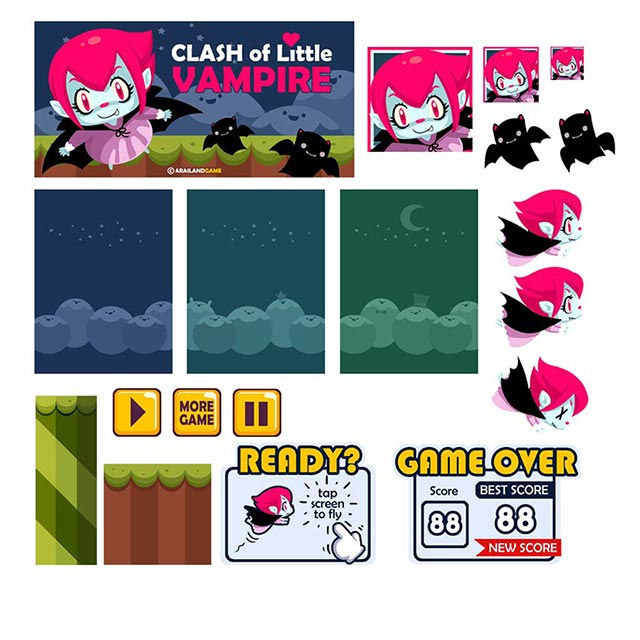 Clash of Little Vampire Game Assets and Game Icons